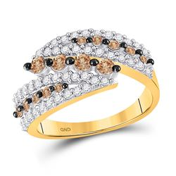 1 CTW Womens Round Brown Diamond Band Ring 10kt Yellow Gold - REF-35T4V
