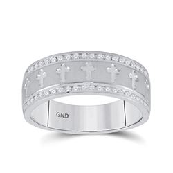1/4 CTW Mens Round Diamond Wedding Cross Band Ring 14kt White Gold - REF-92V6Y