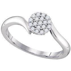 1/6 CTW Womens Round Diamond Cluster Slender Simple Ring 10kt White Gold - REF-23R9X