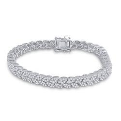 3 & 5/8 CTW Womens Round Diamond Fashion Bracelet 14kt White Gold - REF-388X5T