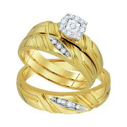 1/6 CTW Round Diamond Matching Mens Womens Halo Trio Wedding Bridal Ring 10k Yellow Gold - REF-41A6M