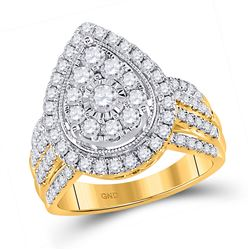 1 & 1/2 CTW Womens Round Diamond Teardrop Pear Cluster Ring 14kt Yellow Gold - REF-150A2M