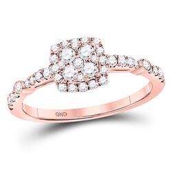 1/2 CTW Round Diamond Square Cluster Bridal Wedding Engagement Ring 14kt Rose Gold - REF-47X6T