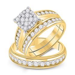 1 & 3/4 CTW His Hers Round Diamond Cluster Matching Wedding Set 14kt Yellow Gold - REF-167N2A