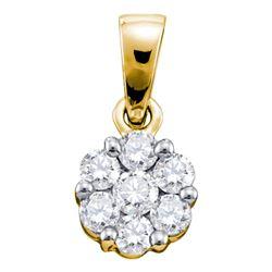 1 CTW Womens Round Diamond Flower Cluster Pendant 14kt Yellow Gold - REF-105H7R