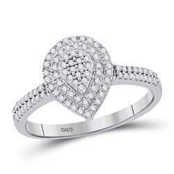1/3 CTW Womens Round Diamond Concentric Teardrop Cluster Ring 10kt White Gold - REF-28A5M