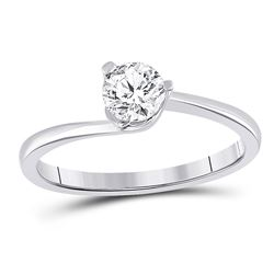 1/2 CTW Womens Round Diamond Solitaire Bridal Wedding Engagement Ring 14kt White Gold - REF-120X2T