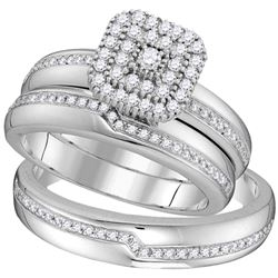 1/2 CTW His Hers Round Diamond Square Matching Wedding Set 10kt White Gold - REF-54Y5N