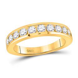 1 CTW Womens Round Diamond Wedding Single Row Band Ring 14kt Yellow Gold - REF-102V3Y