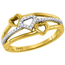 1/10 CTW Womens Round Diamond Double Heart Striped Band Ring 10kt Yellow Gold - REF-19N6A