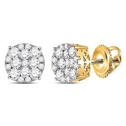 1/2 CTW Womens Round Diamond Circle Cluster Earrings 14kt Yellow Gold - REF-40F8W