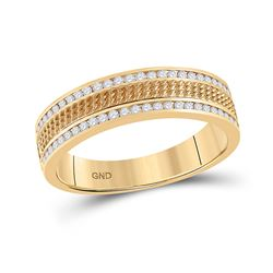 1/3 CTW Mens Round Diamond Wedding Textured Band Ring 14kt Yellow Gold - REF-72X3T