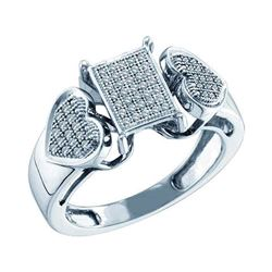 1/5 CTW Womens Round Diamond Heart Rectangle Cluster Ring 10kt White Gold - REF-37T5V