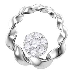 1/4 CTW Womens Round Diamond Circle Cradled Cluster Pendant 10kt White Gold - REF-21Y8N