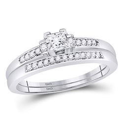 1/3 CTW Princess Diamond Bridal Wedding Ring Band Set 10kt White Gold - REF-47A6M