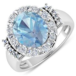 Natural 3.53 CTW Aquamarine & Diamond Ring 14K White Gold - REF-134X2K