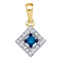 1/5 CTW Womens Round Blue Color Enhanced Diamond Square Pendant 10kt Yellow Gold - REF-13Y5N
