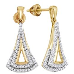 1/4 CTW Womens Round Diamond Dangle Earrings 10kt Yellow Gold - REF-27F3W