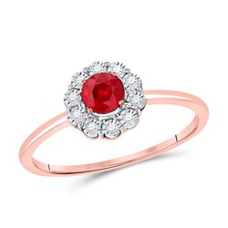 3/8 CTW Womens Round Ruby Solitaire Diamond Ring 14kt Rose Gold - REF-20X5T