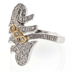 0.50 CTW Diamond Ring 14K 2Tone Gold - REF-70N8Y