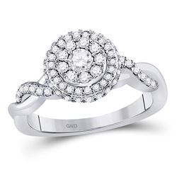 3/4 CTW Round Diamond Cluster Bridal Wedding Engagement Ring 10kt White Gold - REF-85A8M
