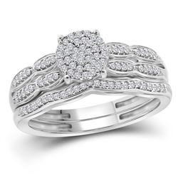 1/4 CTW Round Diamond Cluster Bridal Wedding Ring Band Set 10kt White Gold - REF-34W3H