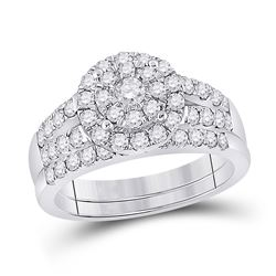 1 CTW Round Diamond Bridal Wedding Ring 14kt White Gold - REF-109Y2N
