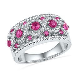 1 CTW Womens Round Lab-Created Pink Sapphire Diamond Roped Band Ring 10kt White Gold - REF-34T3V