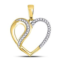 1/10 CTW Womens Round Diamond Heart Fashion Pendant 10kt Yellow Gold - REF-13F5W