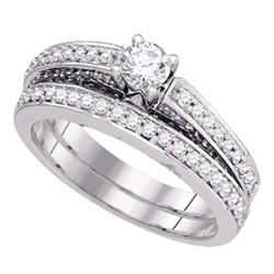 1 CTW Round Diamond Bridal Wedding Ring 14kt White Gold - REF-146M6F