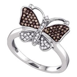 1/5 CTW Womens Brown Round Diamond Cluster Butterfly Bug Ring 10k White Gold - REF-25W3H