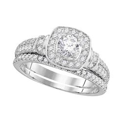 1 CTW Round Diamond Square Halo Bridal Wedding Ring 14kt White Gold - REF-146R6X