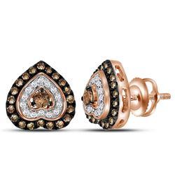 5/8 CTW Womens Round Brown Diamond Heart Earrings 10kt Rose Gold - REF-37W5H