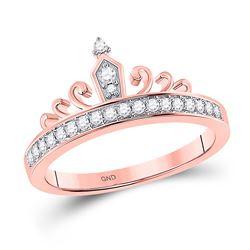 1/5 CTW Womens Round Diamond Crown Tiara Band Ring 10kt Rose Gold - REF-23H3R
