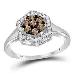 1/2 CTW Womens Round Brown Diamond Polygon Cluster Ring 10kt White Gold - REF-23W9H