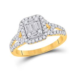 3/4 CTW Womens Baguette Diamond Square Ring 14kt Yellow Gold - REF-88R5X