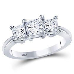1 & 1/2 CTW Princess Diamond 3-stone Bridal Wedding Engagement Ring 14kt White Gold - REF-268T2V