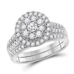 1 CTW Round Diamond Bridal Wedding Ring Band Set 10kt White Gold - REF-88A6M