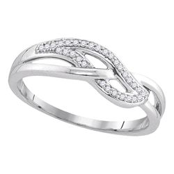 1/10 CTW Womens Round Diamond Woven Strand Band Ring 10kt White Gold - REF-15H5R