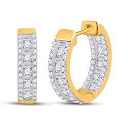 1 CTW Womens Round Diamond Hoop Earrings 14kt Yellow Gold - REF-88H5R
