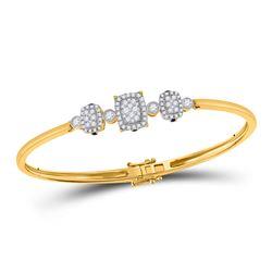 7/8 CTW Womens Round Diamond Triple Cluster Bangle Bracelet 14kt Yellow Gold - REF-136N4A