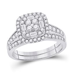 1 CTW Round Diamond Bridal Wedding Ring 14kt White Gold - REF-92M6F