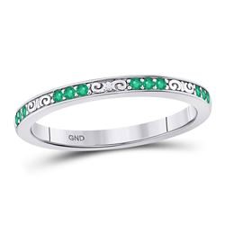 1/8 CTW Womens Round Emerald Single Row Flourished Stackable Band Ring 10kt White Gold - REF-13R5X