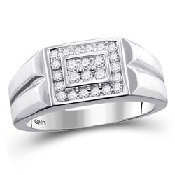 3/8 CTW Mens Round Diamond Rectangle Cluster Ring 10kt White Gold - REF-49R6X