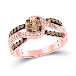 1 CTW Round Brown Diamond Solitaire Bridal Wedding Engagement Ring 14kt Rose Gold - REF-104Y4N