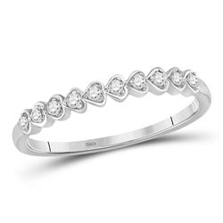 1/10 CTW Womens Round Diamond Heart Stackable Band Ring 10kt White Gold - REF-15W5H
