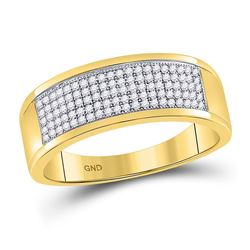1/3 CTW Mens Round Diamond Micropave Wedding Anniversary Band Ring 10k Yellow Gold - REF-36N2A