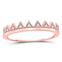 1/10 CTW Womens Round Diamond Chevron Stackable Band Ring 10kt Rose Gold - REF-13V5Y
