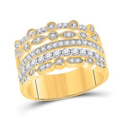 1/2 CTW Womens Round Diamond Stacked Band Ring 10kt Yellow Gold - REF-57X3T