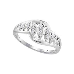 1/20 CTW Womens Round Diamond Striped Openwork Band Ring 10kt White Gold - REF-13N2A